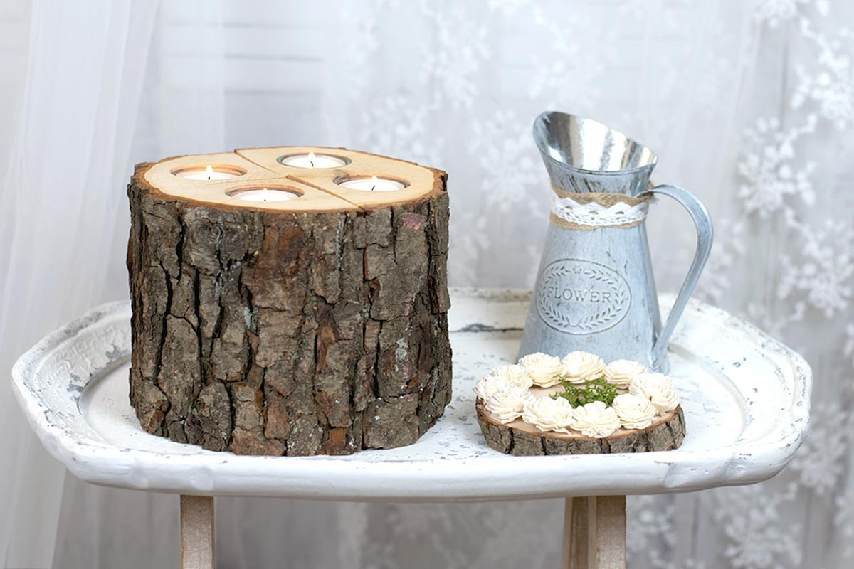 Wood Stump Candle
